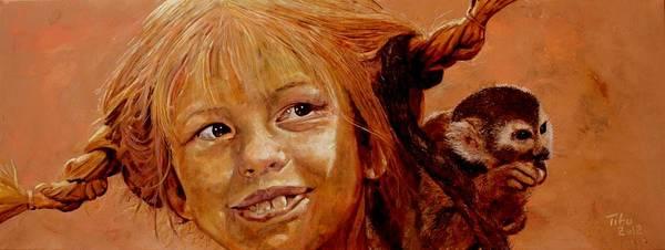 Wall Art - Painting - Pippi Longstocking by Richard Tito