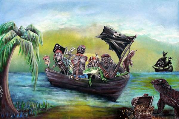 Wall Art - Painting - Pirate Booty Beach by Laura Barbosa