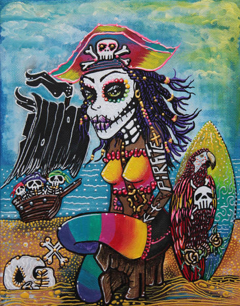Wall Art - Painting - Pirate Girl - Surfs Up by Laura Barbosa