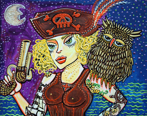 Wall Art - Painting - Pirate Quest For The Golden Owl by Laura Barbosa