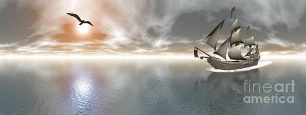 Schooner Digital Art - Pirate Ship Sailing The Ocean by Elena Duvernay
