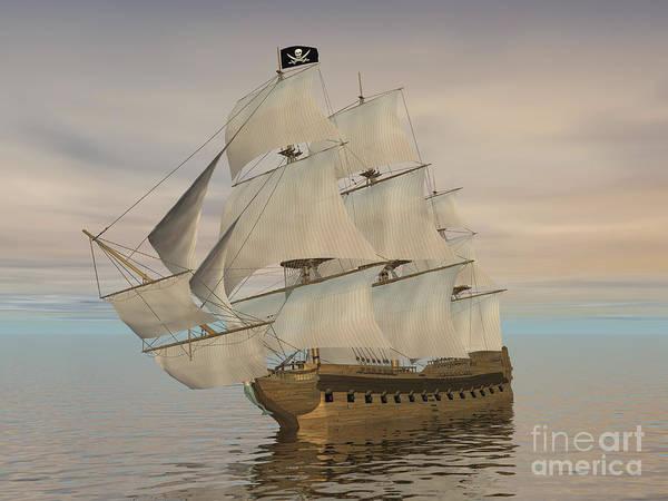 Schooner Digital Art - Pirate Ship With Black Jolly Roger Flag by Elena Duvernay