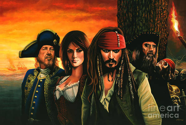 Flag Wall Art - Painting - Pirates Of The Caribbean  by Paul Meijering