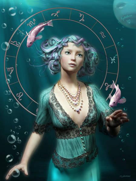 Wall Art - Digital Art - Pisces Zodiac Circle by Britta Glodde