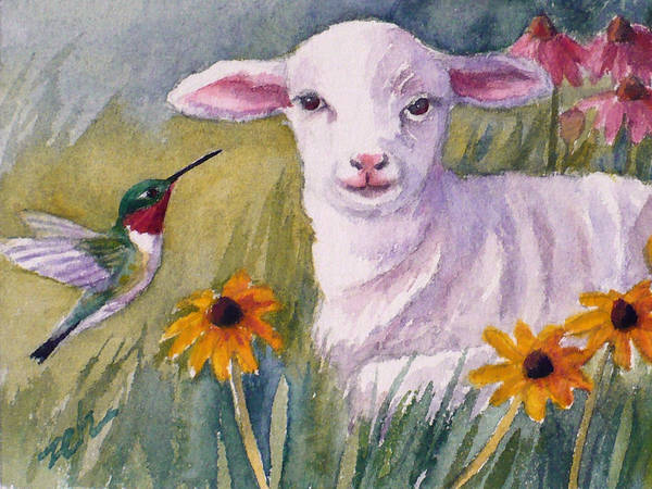 Painting - Pissaro And The Lamb by Janet Zeh