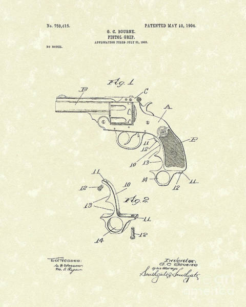 Drawing - Pistol Grip 1904 Patent Art by Prior Art Design