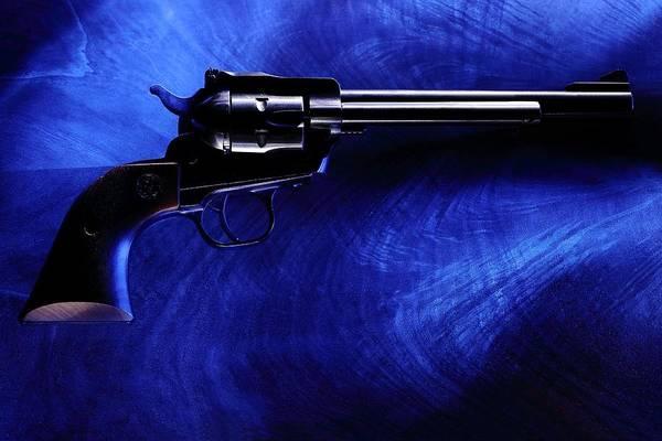 Photograph - Pistol On Blue by David Andersen