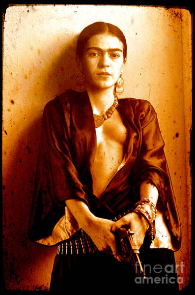 Kahlo Photograph - Pistol Packing Frida by Pg Reproductions
