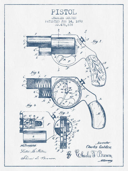 Weapons Digital Art - Pistol Patent From 1892 -  Blue Ink by Aged Pixel