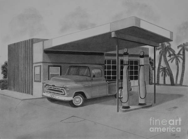 Pump Drawing - Pit Stop by Byron Moss