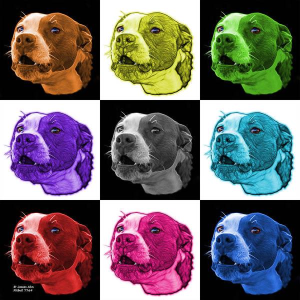 Mixed Media - Pitbull 7769 - V1 - M - Fractal Dog Art - Mosaic Art by James Ahn