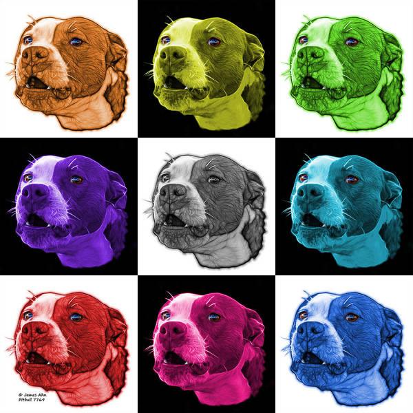 Mixed Media - Pitbull Dog Art - 7769 - V2 - M - Fractal Dog Art - Mosaic Art by James Ahn