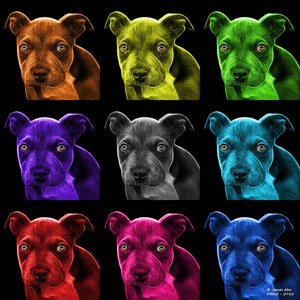 Painting - Pitbull Puppy Pop Art - 7085 Bb - M by James Ahn