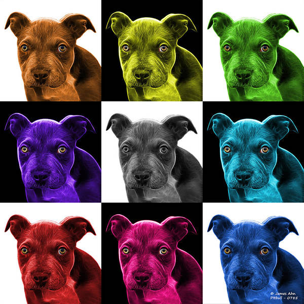 Photograph - Pitbull Puppy Pop Art - 7085 V2 - M by James Ahn