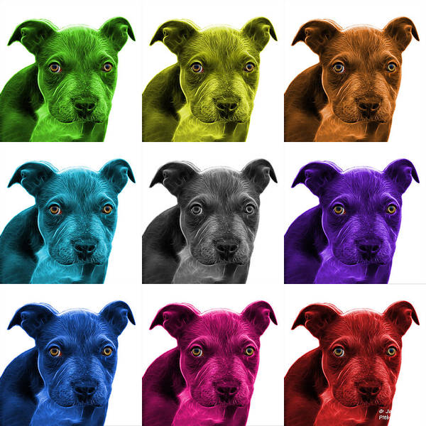 Painting - Pitbull Puppy Pop Art - 7085 Wb - M by James Ahn