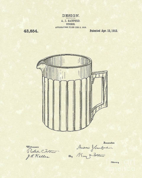 Drawing - Pitcher 1913 Patent Art by Prior Art Design