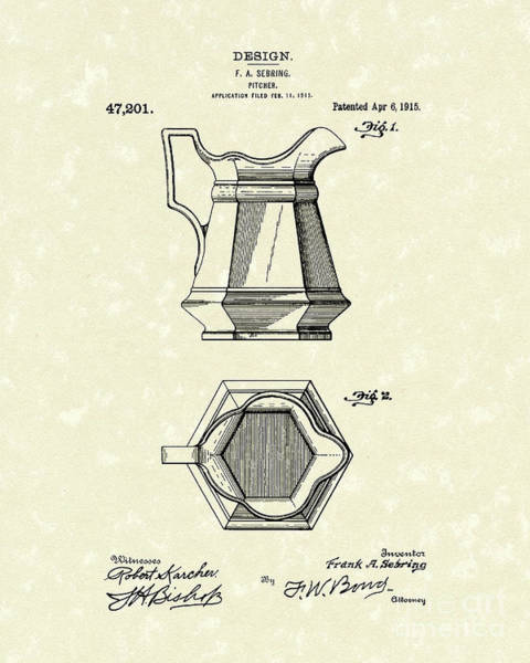 Drawing - Pitcher 1915 Patent Art by Prior Art Design