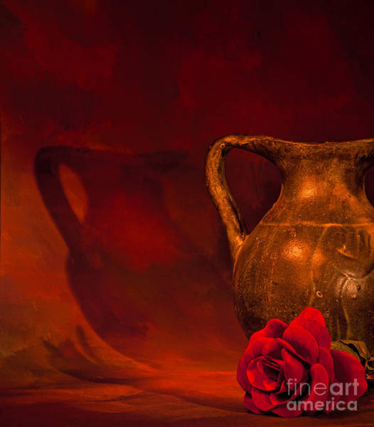 Photograph - Pitcher And Rose by Les Palenik