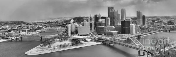 Photograph - Pittsburgh Black And White Winter Panorama by Adam Jewell