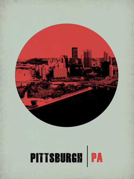Downtown Digital Art - Pittsburgh Circle Poster 2 by Naxart Studio