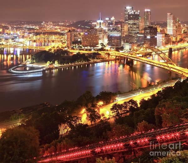 Photograph - Pittsburgh City Sky Lights by Adam Jewell