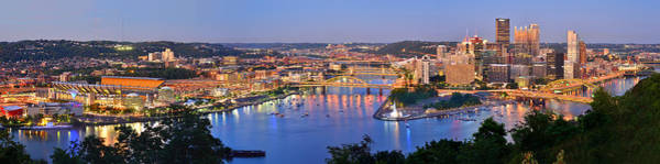Downtown Photograph - Pittsburgh Pennsylvania Skyline At Dusk Sunset Extra Wide Panorama by Jon Holiday