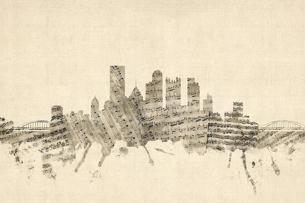 Wall Art - Digital Art - Pittsburgh Pennsylvania Skyline Sheet Music Cityscape by Michael Tompsett