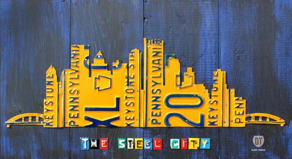 License Wall Art - Mixed Media - Pittsburgh Skyline License Plate Art by Design Turnpike