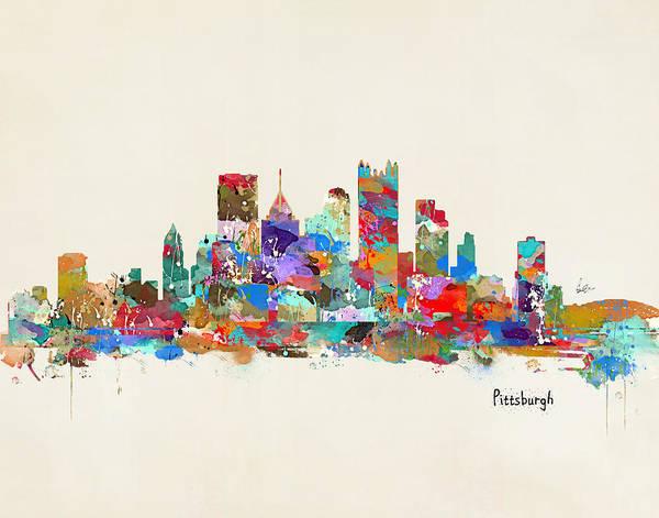 Wall Art - Painting - Pittsburgh Skyline Pennsylvania by Bri Buckley