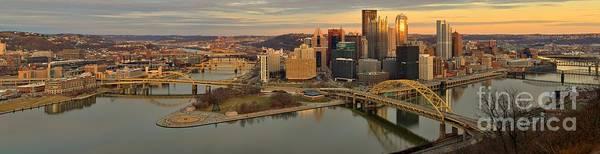 Photograph - Pittsburgh Skyline Sunset Panorama by Adam Jewell