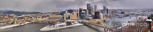 Photograph - Pittsburgh Snowy Panorama by Adam Jewell