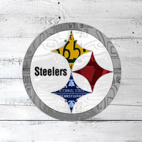 Wall Art - Mixed Media - Pittsburgh Steelers Football Team Retro Logo Pennsylvania License Plate Art by Design Turnpike