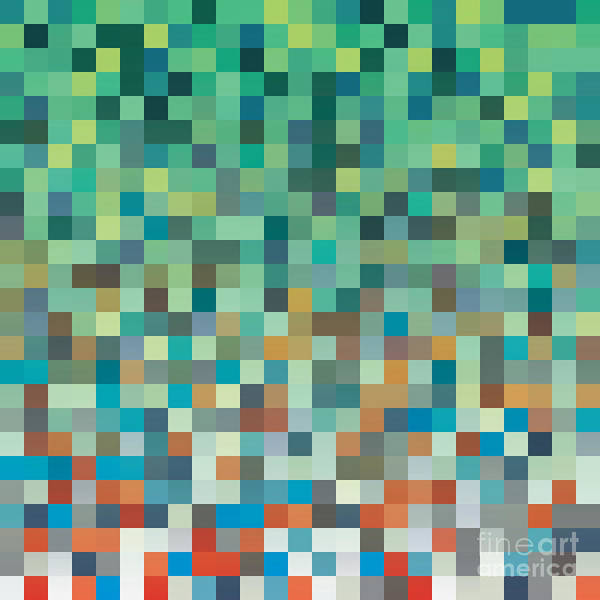 Decor Wall Art - Digital Art - Pixel Art Style Pixel Background by Mike Taylor