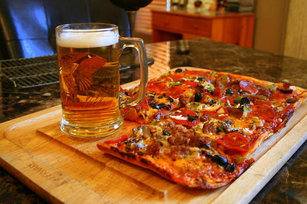 Wall Art - Photograph - Pizza And Beer by Kay Novy
