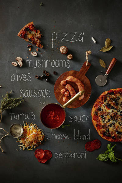 Wall Art - Photograph - Pizza And Ingredients by Lew Robertson
