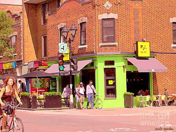 Painting - Pizzadelic Sidewalk Cafe Terrace Sunny Day Biking In The Latin Quarter Montreal City Scene C Spandau by Carole Spandau