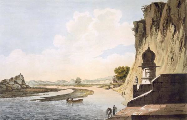 River Bank Drawing - Pl. 26 A View Of The Gaut At Etawa by William Hodges