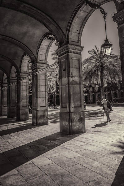 Edifice Photograph - Placa Reial Shadows by Joan Carroll