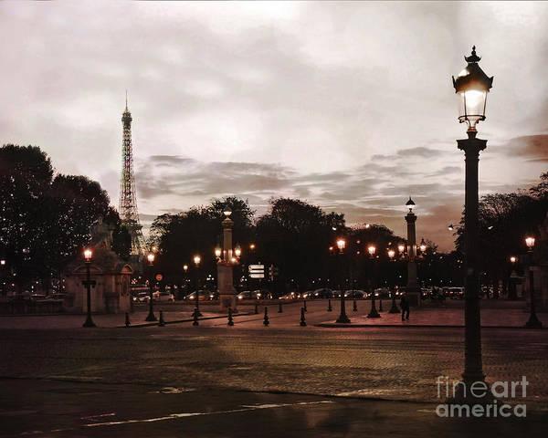 Concorde Photograph - Paris Place De La Concorde Sepia Art - Paris Eiffel Tower View Place De La Concorde Street Lamps  by Kathy Fornal