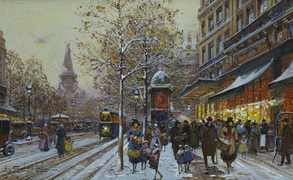 Shopping Painting - Place De La Republique Paris by Eugene Galien-Laloue