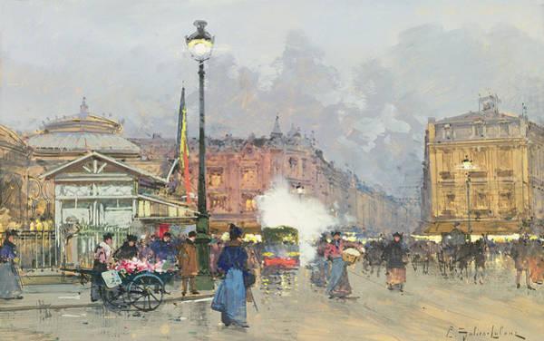 Traffic Painting - Place De L'opera Paris by Eugene Galien-Laloue