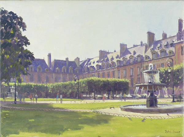 Parisian Photograph - Place Des Vosges, Paris Oil On Canvas by Julian Barrow