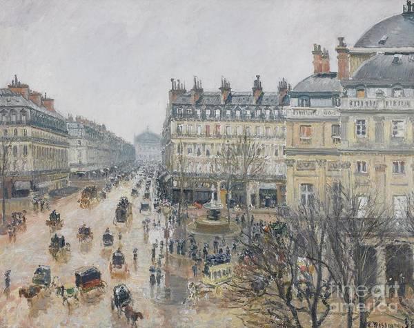 Camille Wall Art - Painting - Place Du Theatre Francais    Paris  Rain by Camille Pissarro