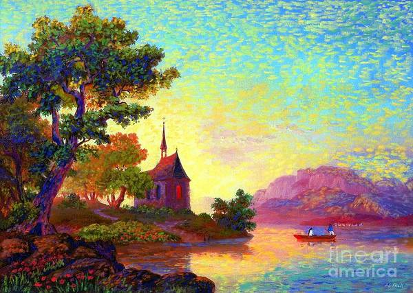 Mountain Lake Painting - Beautiful Church, Place Of Welcome by Jane Small