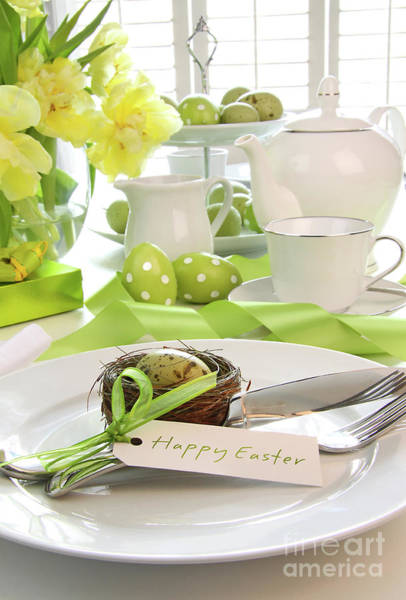 Photograph - Place Setting With Place Card Set For Easter by Sandra Cunningham