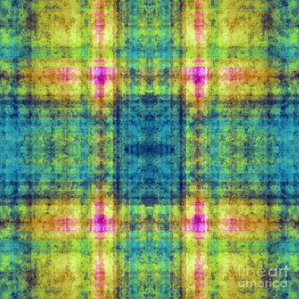 Digital Art - Plaid In Blue And Yellow Square by Andee Design