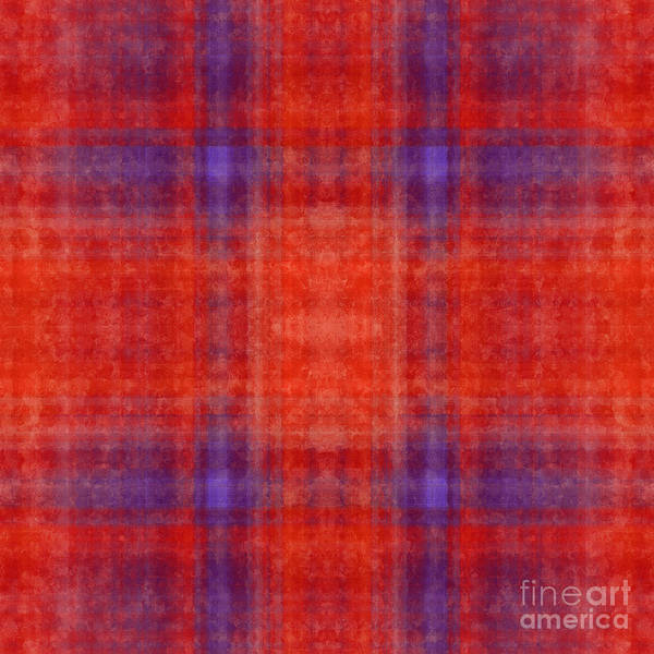 Digital Art - Plaid In Orange 1 Square by Andee Design