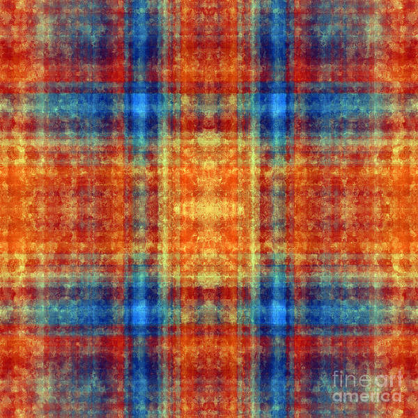 Digital Art - Plaid In Orange 2 Square by Andee Design