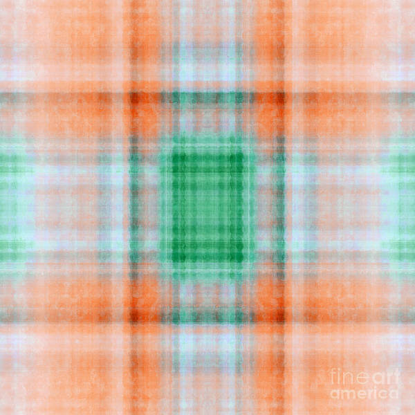 Digital Art - Plaid In Orange 3 Square by Andee Design