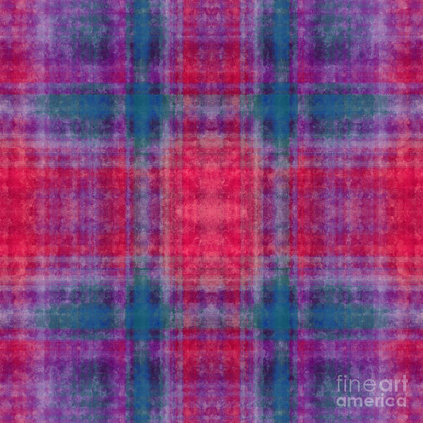 Digital Art - Plaid In Pink And Teal Square by Andee Design